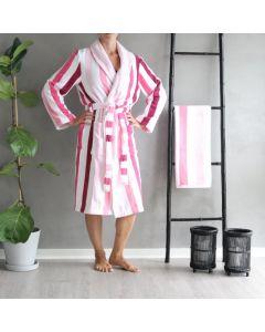 Morgenkåbe, Classic strib, 100% Bomuld, Pink/hvid