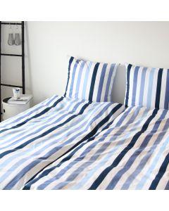 Sengetøj, Naja, 200x200 cm, Bomuld, Blålige striber
