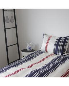 Sengetøj, Emily, 200x200 cm, Bomuldssatin, Blå/røde striber