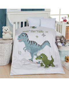 Baby sengetøj, Dino, M&P, 70 x100 cm. grønne striber