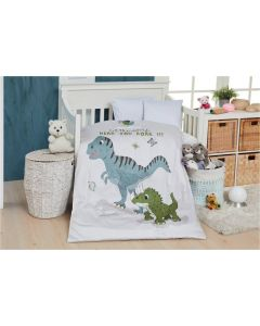 Junior sengetøj, Dino, M&P, 100x140cm, grønne striber
