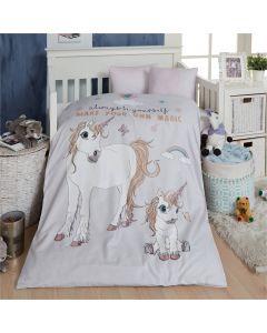 Baby sengetøj, Unicorn, M&P, 70 x 100 cm. Pink striber