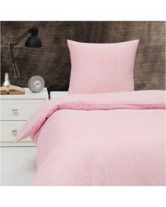 Sengetøj, Kirsten, 140x220 cm, Bomuld, Rosa/lyserøde striber