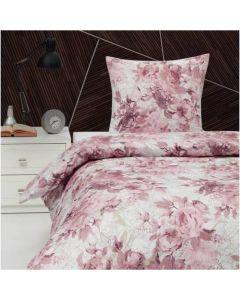 Sengetøj, Lotus, 140x220 cm, Bomuldssatin, Rosa blomster
