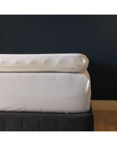 Kuvertlagen, 180x200x10 cm, Hvid, Bomuldssatin