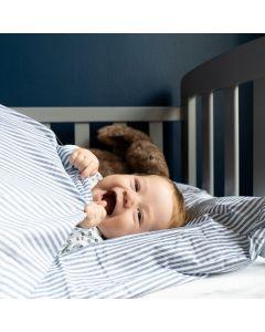 Baby sengetøj, Mille, Bomuld, Mørkeblå striber, 70 x 100 cm.