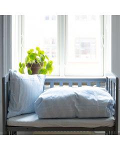 Junior sengetøj, Emilie, Bomuld, Lyseblå striber, 100x140 cm