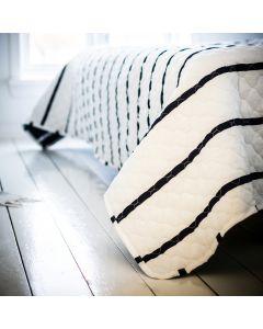 Sengetæppe, Karla, Blå/Hvid stribet, 100% bomuld, 220x220 cm