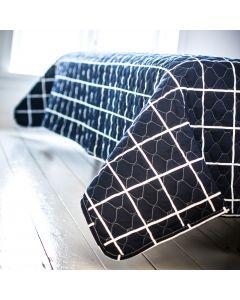 Sengetæppe, Victoria, Blå/Hvid ternet, 100% bomuld, 220x220 cm