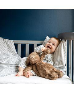 Junior sengetøj, Josefine, Bomuld, Grå striber, 100x140 cm