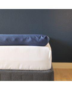Kuvertlagen, 180x200x10 cm, Mørk blå, Bomuldssatin