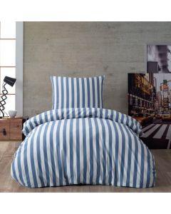 Sengetøj, Lea, 140x200cm, Brede blå striber, Bomuld
