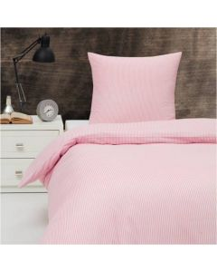 Sengetøj, Kirsten, 140x200 cm, stribet rosa /lyserødt
