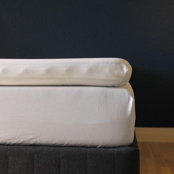 Kuvertlagen, 160x200x10 cm, Hvid, Bomuldssatin