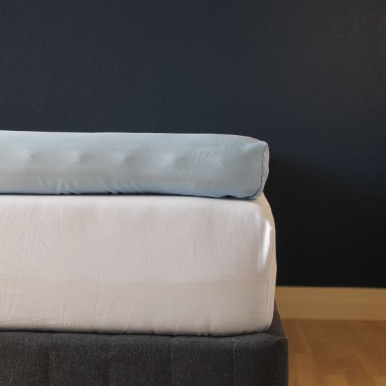 Kuvertlagen, 180x200x10 cm, Lys blå, Bomuldssatin